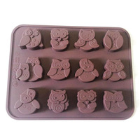 s 12-Owl Soap Mold Flexible Silicone Mould For Candy Chocolate Resin Cake Mold