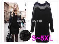 New 2014 Autumn And Winter Velvet One-piece Dress Fashion Casual Slim Long-sleeve Basic Dresses Black Gray Plus Size S ~5XXL