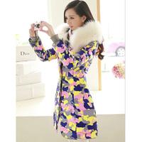 S-4XL  New  2014 female models  Nagymaros collar  Camouflage jacket  Girls long section  Slim Jacket  Cotton