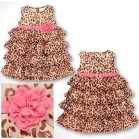 403# child flower slim waist leopard print layered dress one-piece dress princess dress 5pcs/lot