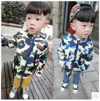 fall of 2014 children's clothing Korean boy jackets camouflage small children new hooded windbreaker jacket for children