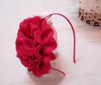 Retail, big soild chiffon rosette flower headband alice band AJB-0018, free shipping (black pink yellow fushcia orange)