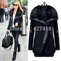 2014 New Luxury Faux Mink Fur Long Coat Jacket Outwear/Faux Rex Rabbit Fur Collar overcoat Women Hot Sale free shipping