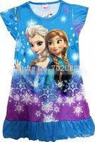 Retail frozen dress nightgown elsa girl dress for summer girls Anna Dream Dresses