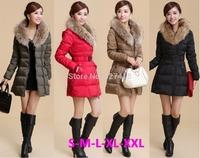 2014 New Brand Fashion Clothing Faux Fur Collar Zipper Long Style Women Warm Down Coat 3 Colors Winter parkas coat Size S-XXL