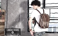 Famous Brand New Men Vintage Tactical Canvas Leather Travel School Backpacks Hiking Cycling Rucksack Unique East Pack Backpack