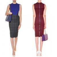 Stock Back Victoria Style,Zipper Back Stretch Cotton Patchwork Wool Slim Dress 140928HU02