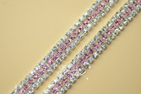 free shipment 3 row 7.5mm light pink  Rhinestones fashion chain  trims Applique for Garment Accessories