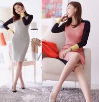 New 2014 autumn and winter women's fashion cotton knitting sweater V neck long sleeve patchwork Slim  basic dress