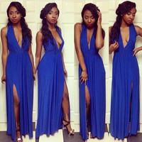 014Classical explosion sexy party blue sexy fashion dress KF060 Mermaid dress bandage long bodycon dress frozen dress elsa dress
