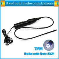 Dia 7.2MM 6LEDs USB Endoscope Camera Flexible cable Neck 80CM Waterproof Inspection Tube Snake Camera Endoscop Borescope 6 LED