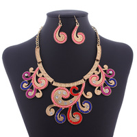 Hot Sale European African Jewelry Sets  New 2014 Vintage Necklace and Earring Suit Multicolor Wedding Party Jewelry Women's