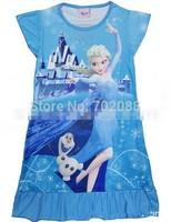 Retail frozen nightgown elsa Tracksuit girl dress for summer girls Anna dresses