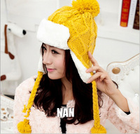 Free shopping 2014 new lovers ear cap Snow flying hats for women Plus velvet warm Drop shipping