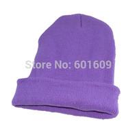 Free Shipping Women Men New Winter Solid Color Plain Beanie Knit Ski Cap Skull Hat Warm Cuff Blank Beany light purple TW324