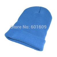 Free Shipping Women Men New Winter Solid Color Plain Beanie Knit Ski Cap Skull Hat Warm Cuff Blank Beany light blue TW326
