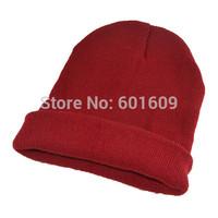 Free Shipping Women Men New Winter Solid Color Plain Beanie Knit Ski Cap Skull Hat Warm Cuff Blank Beany dark red TW328
