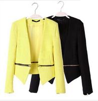 2014 New Removable Zipper Weave Texture Autumn Winter Short Coat Women's Slim Casual Jackets blazer women casacos black