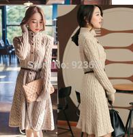 2014 new autumn and winter long wool twist cardigan sweater coat female coarse wool knitting long sleeve turtleneck casual dress