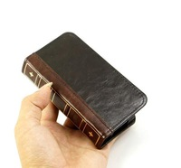 Classic retro book design wallet card set leather case for iPhone 4 iPhone 4s
