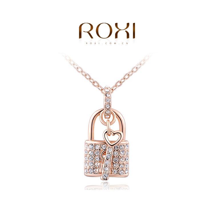 Pure Love ROXI Fashion Accessories Jewelry CZ Diamond Austria Crystal Lock and Key Suit Pendant Necklace