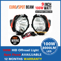 2 Pcs 100W Hid Off Road Driving Light, 9 incn Hid Work Working Light Lamp For Truck Tractor Boat Free Cover