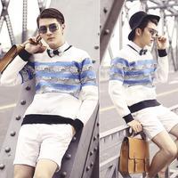 Original design Men mesh striped wave grid desigual element neoprene brand sweatshirt pullover N10044