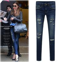 2014 Autumn&Winter,  Skinny Thicken Ladies Ripped Jeans, Women Denim Pencil Jeans