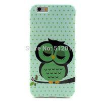 Sleeping Owl Printed Polka Dots Soft TPU Case Cover Skin for iPhone 6 6G 6th