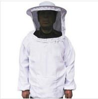 Beekeeping Jacket Veil Bee Protecting Suit Dress Smock Equipment + 1 pair Long Sleeves Gloves