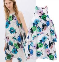 Europe new 2014 summer fashion loose print flower sleeveless vest casual dress elegant all match pleated short dresses fw-354