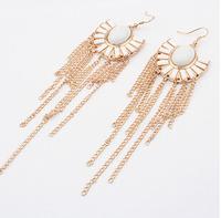 Gold tassels fishhook earrings + white acrylic beads + Free shipping!