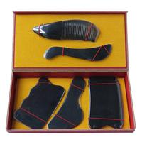 New Arrival superfine 100% Natural black ox horn comb guasha plate fish and wave shaped 5pcs/set face body guasha tool 0033
