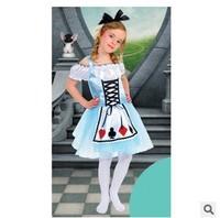 Kids Alice Wonderland Costume Girl Carnival performance Clothing Fancy Dress Fantasia Vestido