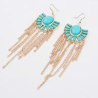 Gold tassels fishhook earrings + Green acrylic beads + Free shipping!