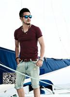 XNAN 2015 new summer cotton Men's cotton short-sleeve T shirt Slim V-neck Handsome Comfort T-shirt For Metrosexual men T900