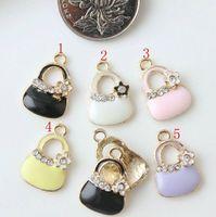 Enameled handbag with flower gems charm pendant, 5 colors mixed, 13x20mm, wholesale