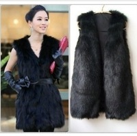 Trade new female fashion fake fur coat vest leather vest and long sections of grass female fur cardigan multicolor free shipping