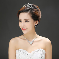 Alloy crown necklace earrings three-piece three-piece bridal wedding accessories suit Ms.