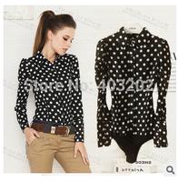 2014 women shirts bodysuit black  polka dot shirt  slim slimming and office
