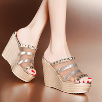 2014 new fashion shoes sexy fish head wedge heel slippers
