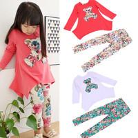 2014 Retail spring autumn new girls bear long-sleeve t-shirt + flower legging clothing set cotton kids clothes sets