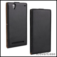 Flip Genuine Leather Case for Sony Xperia T2 Ultra