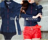 women The European  button Puff Sleeve  slimming  waist slim conjoined shirt shirts bodysuits