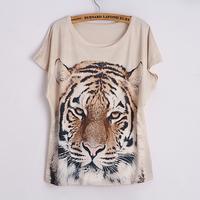 hot! 2014 New Fashion Spring Summer Animal tiger Digital Printing Women's Short Sleeve T-shirt Cotton Blend Printed Tee T Shirts