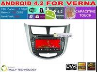 Capacitive Pure Android 4.2 Car DVD For Hyundai Solaris Verna Accent Auto GPS PC Cortex A9 Dual Core 1.6Ghz RAM 1GB