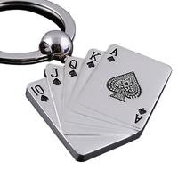 Hot Sale Fashion Poker Keychain Male Personality Metal Key Chain Key Ring Funny Gift Car Keychain Drop Shipping KEY-0006\br