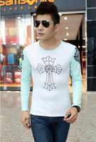 Free shipping 2014 Korean Style Printing Men's Long Sleeve Slim T-shirt, Low Price Wholesale!