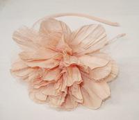 Retail, Fashion large plicated chiffon flower headband alice band free shipping(brown, green, ivory, pink, grey, blue)