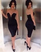 Top Quality lady black red blue white deep v neck strapless celebrity vestidos de fiesta party dress
